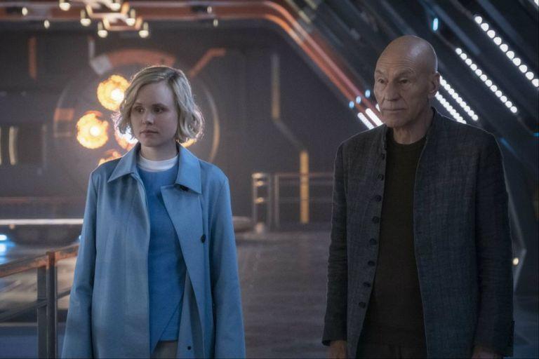Alison Pill y Patrick Stewart en Star Trek: Picard