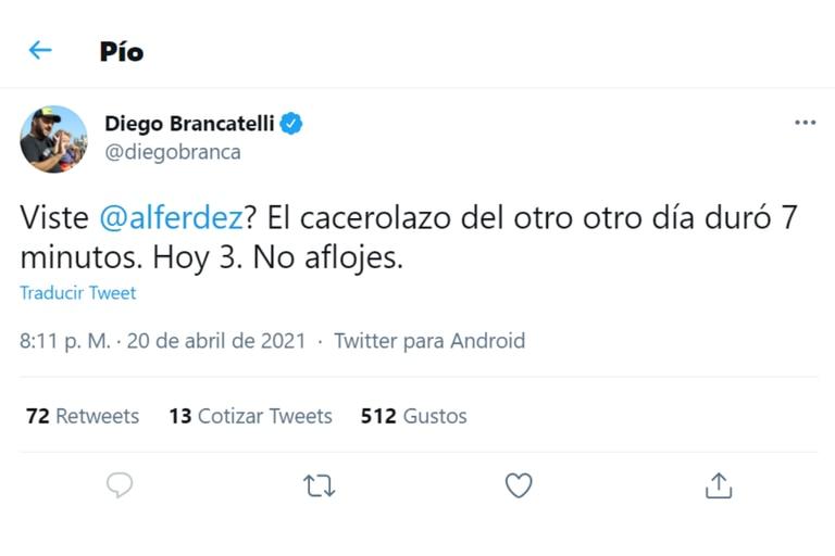 Diego Brancatelli salió a darle su apoyo al presidente Alberto Fernández
