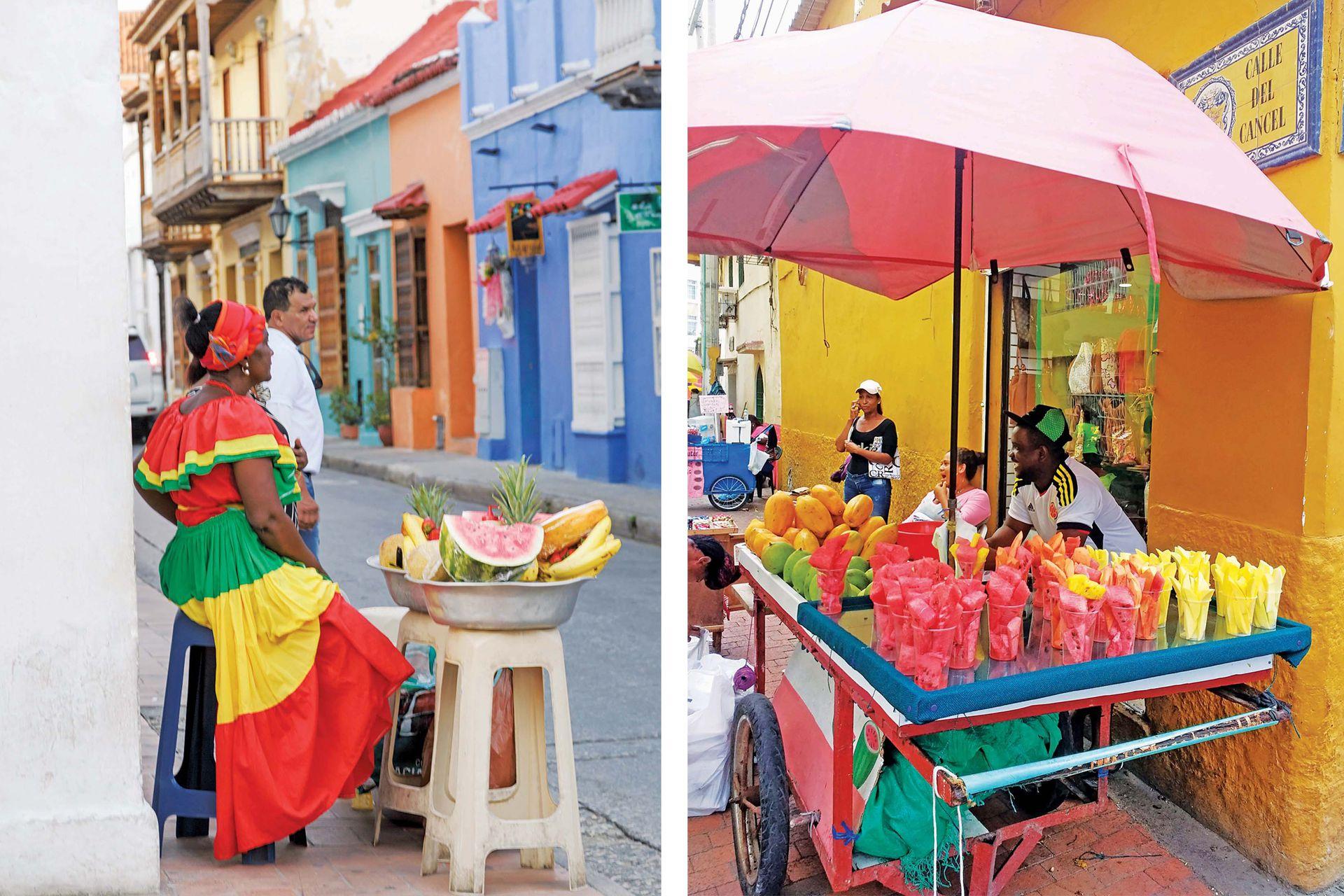 En la tórrida Cartagena, no sabemos si nos detenemos en los puestos de fruta por su frescura, su sabor, su color, o la simple curiosidad ante tantas que no conocemos.