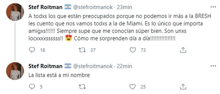 El tuit de Stefi Roitman que generó indignación entre sus seguidores y la llevó a cerrar su cuenta de Twitter.