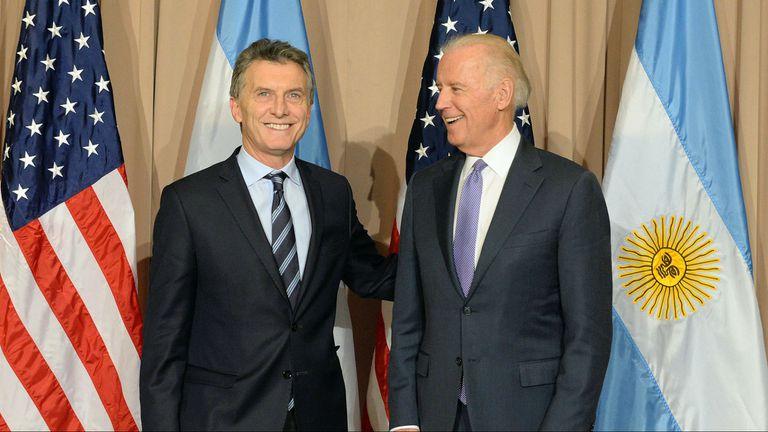 Macri junto al vicepresidente de Estados Unidos, Joe Biden