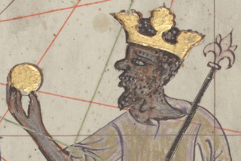 Mansa Musa I representado con corona y moneda de oro en el Atlas catalán o Mapamundi de los Cresques