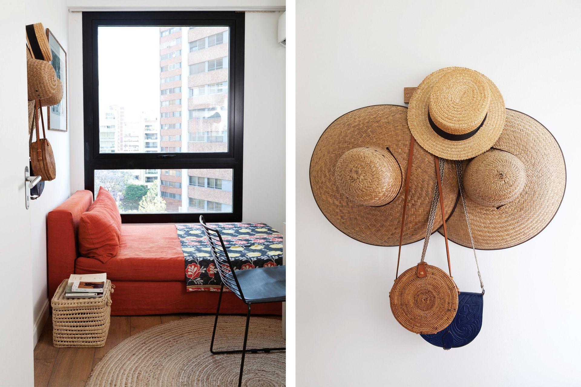 Sillón (Laura O) con funda de lino, alfombra redonda (La Redoute), silla 'Metal G' (Quiu).