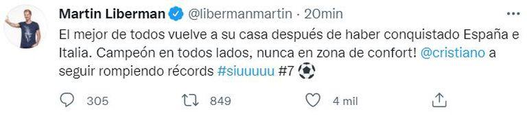 El tuit de Martín Liberman tras conocerse la noticia del arribo de Cristiano Ronaldo al Manchester United