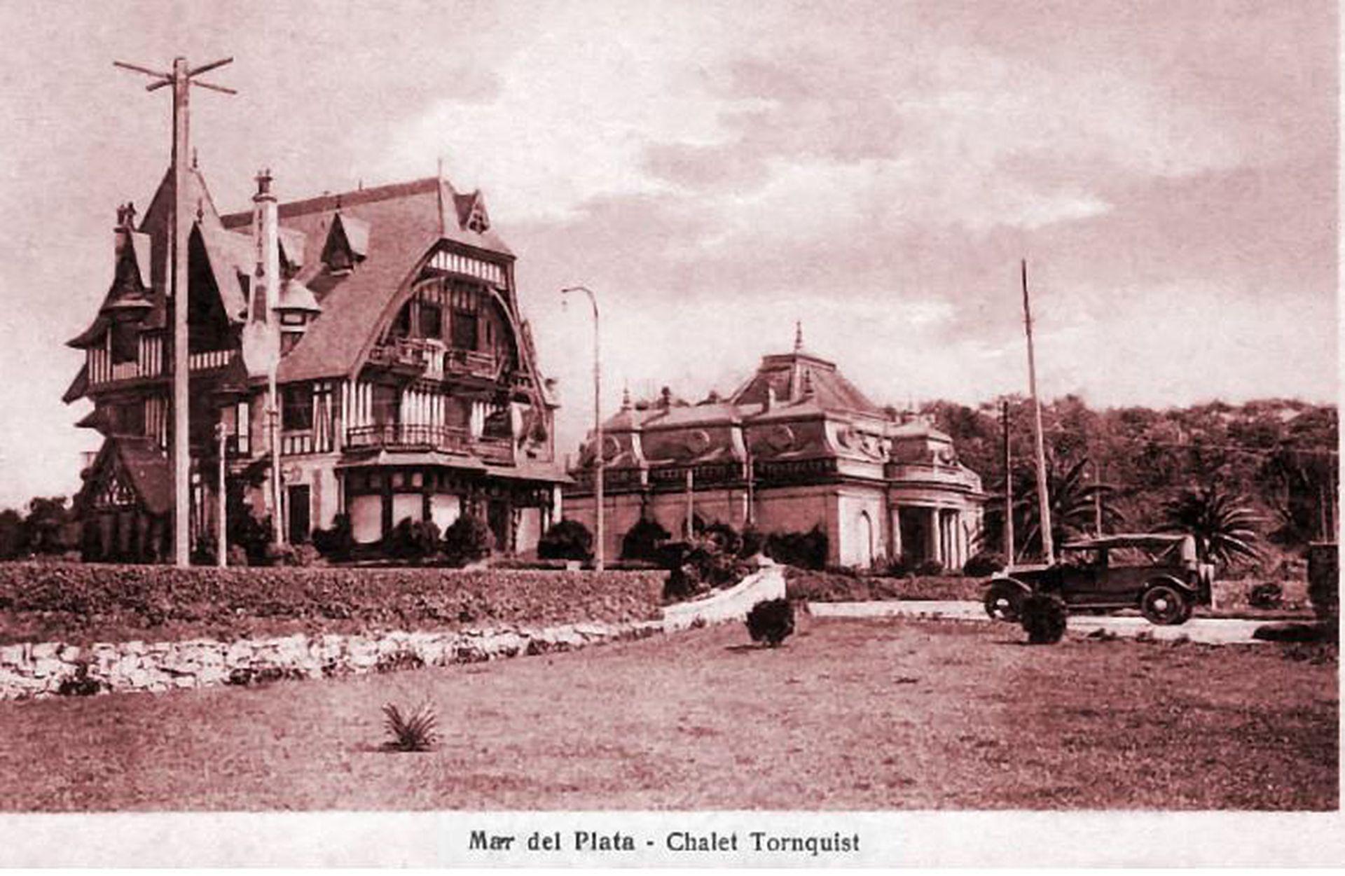 Chalet Tornquist al fondo. Al frente, el chalet de Carlos Dose en Mar del Plata.