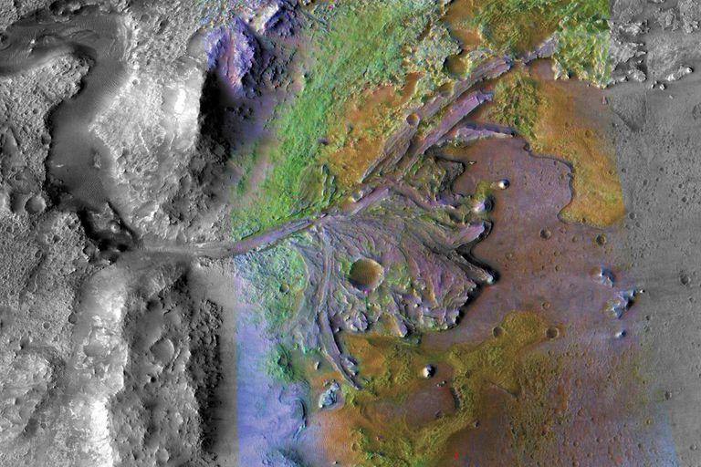Una vista del cráter Jezero, la zona elegida para la exploración que realizará el rover Perseverance