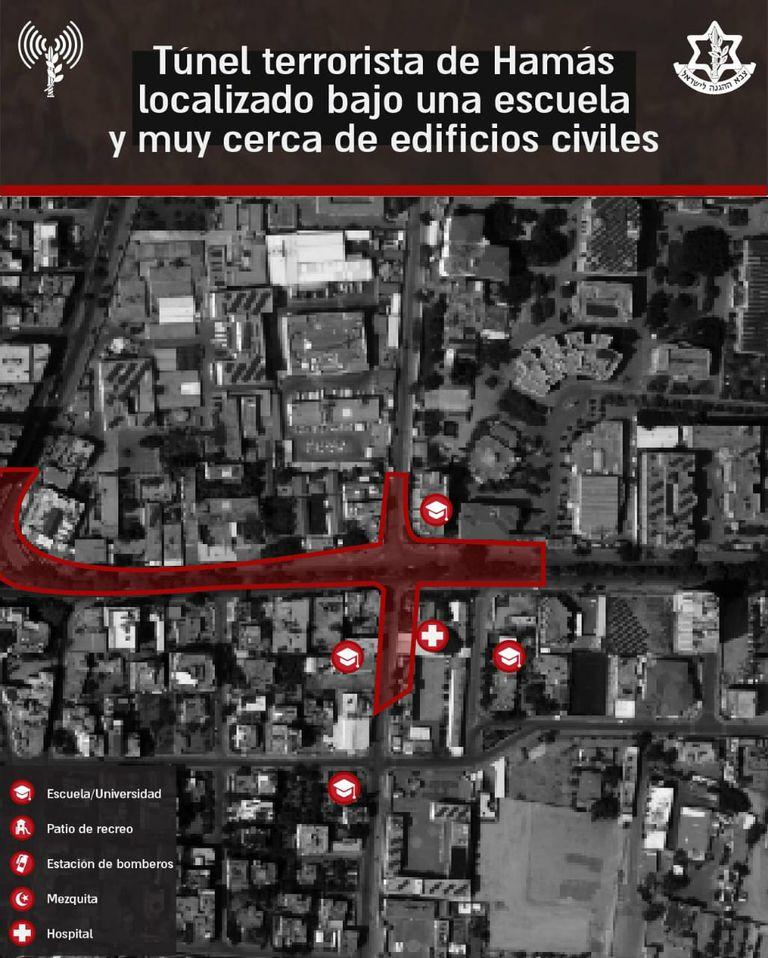 Mapa de un túnel de Hamas cercano a una escuela, provisto por las fuerzas israelíes