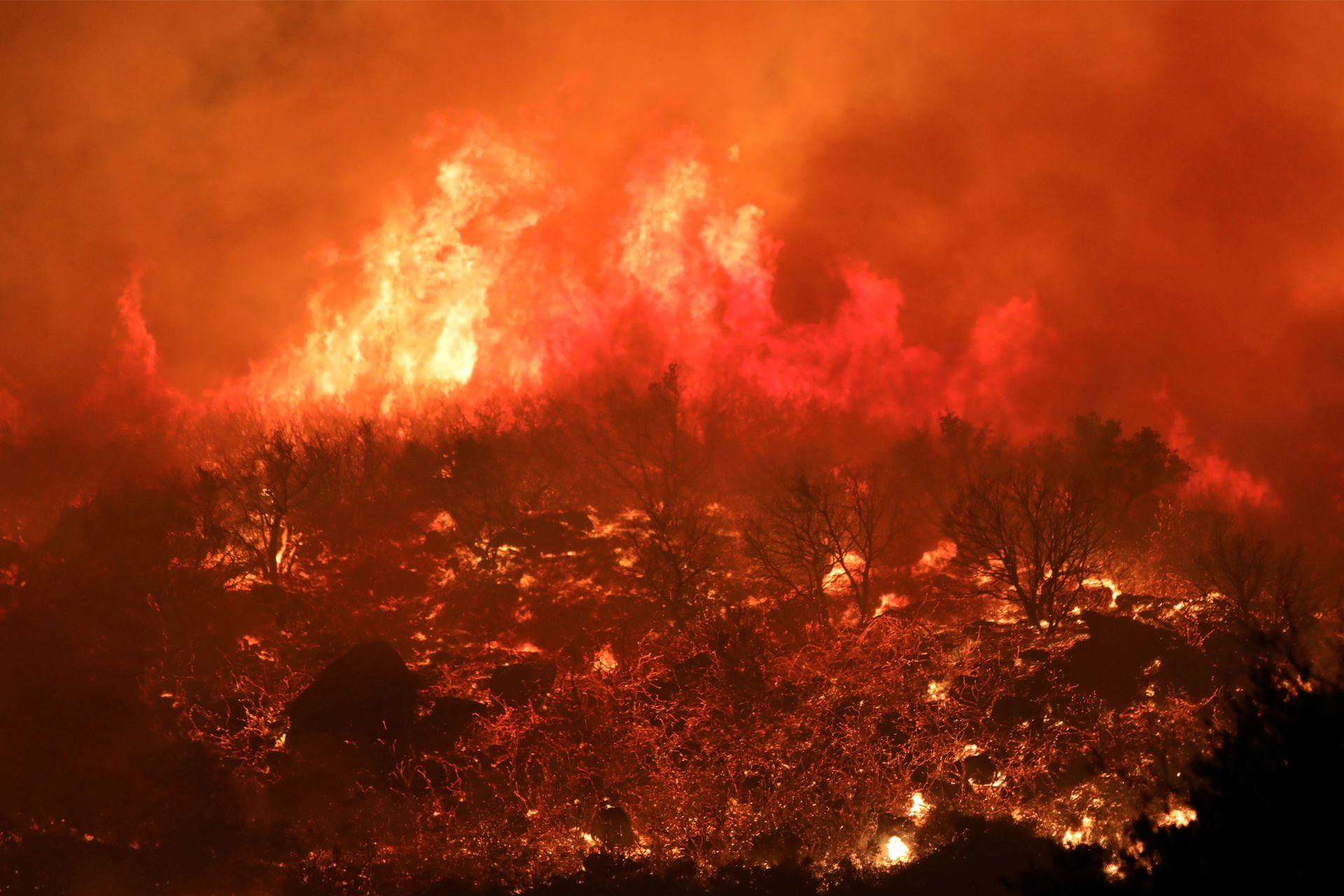 Fuego en las colinas de Santa Bárbara
