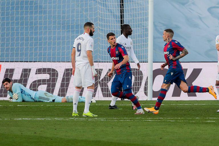 Roger Martí marcó el 2-1 para Levante; fue el festejo que selló el triunfo sobre Real Madrid.