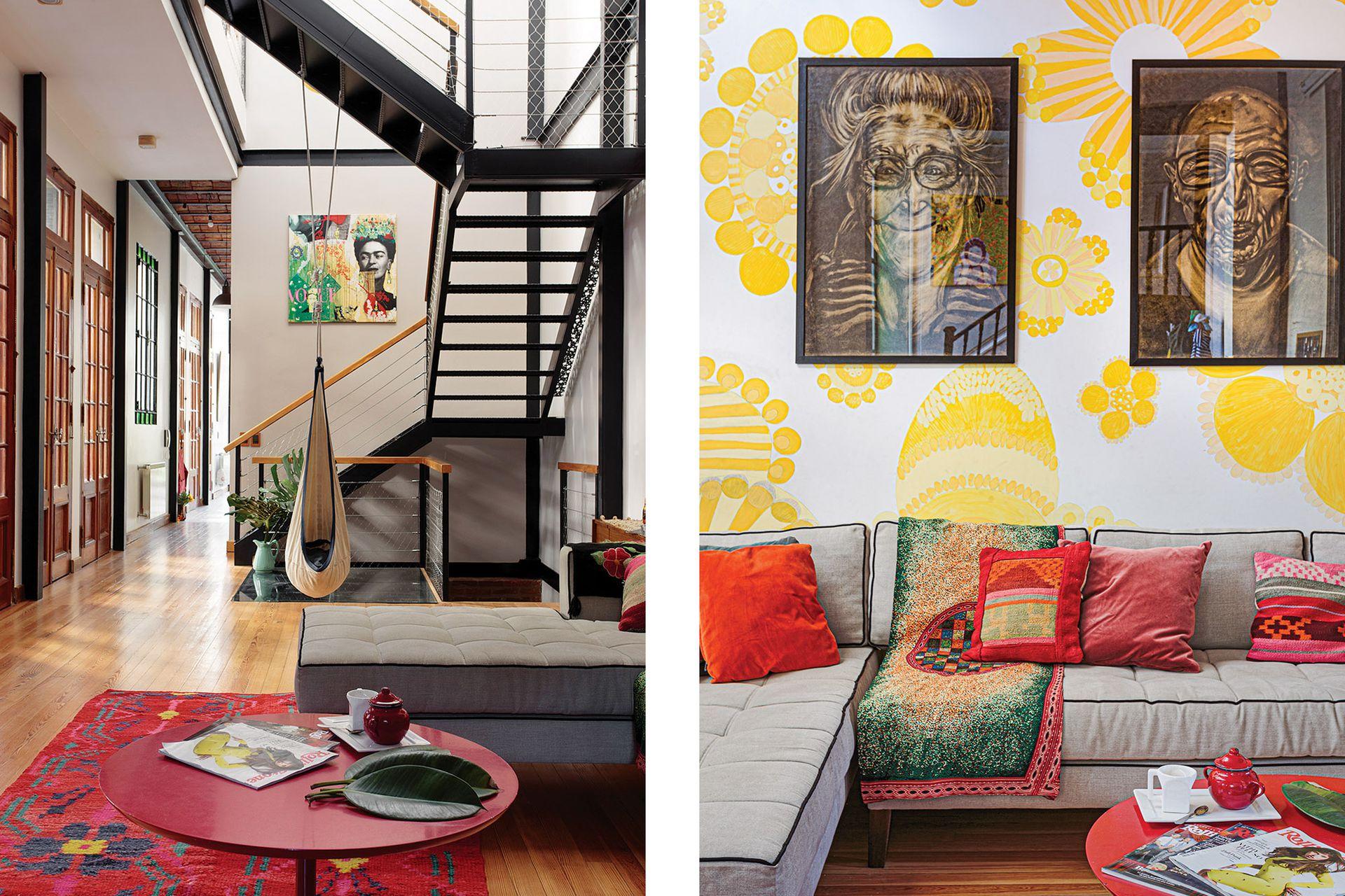 Mural y retratos en carbonilla de la serie 'Madurez' (Marisa Frate). Tapiz recuperado y almohadones traídos del Norte. Sillón (Poltron). Velador (La Merello). Hamaca (AmaKT). Cuadro 'Frida Trend' de la serie 'Costuras' (Marisa Frate).