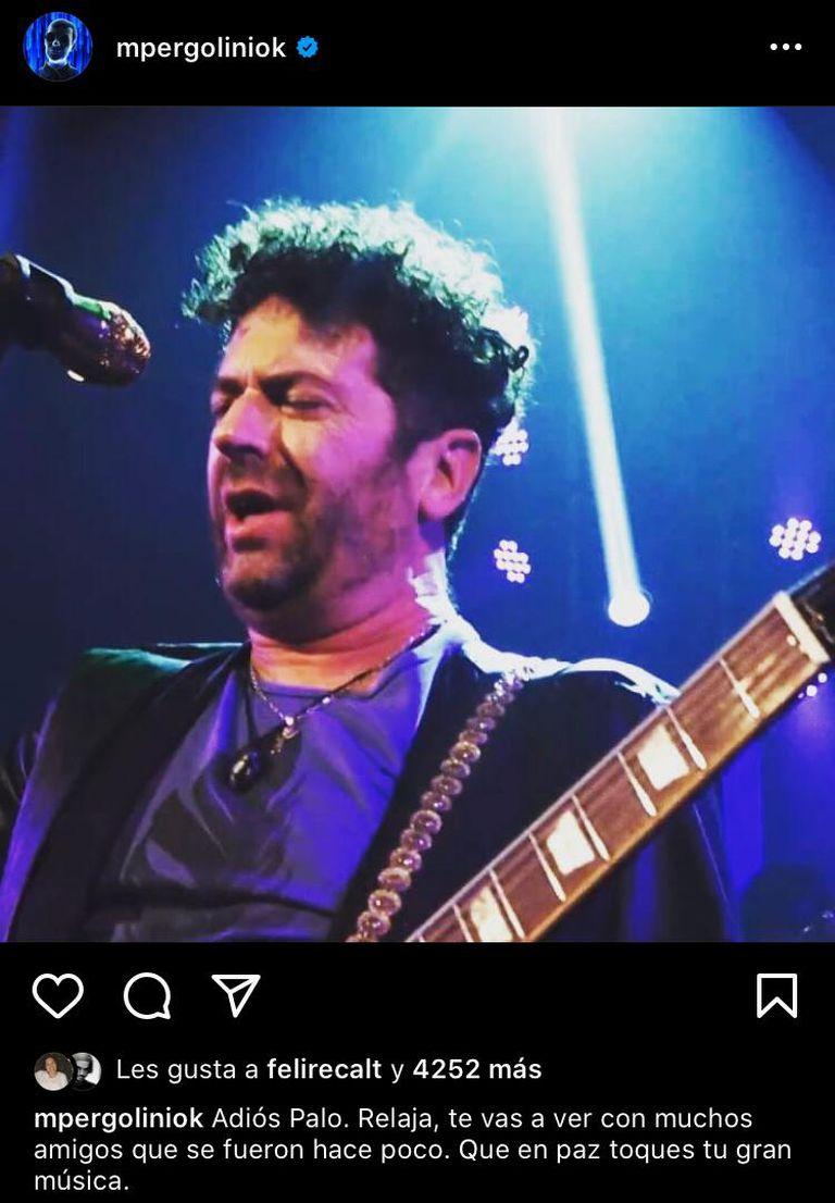 """Mario Pergolini compartió una foto de Pandolfo en su Instagram y lo despidió: """"Que en paz toques tu gran música"""""""