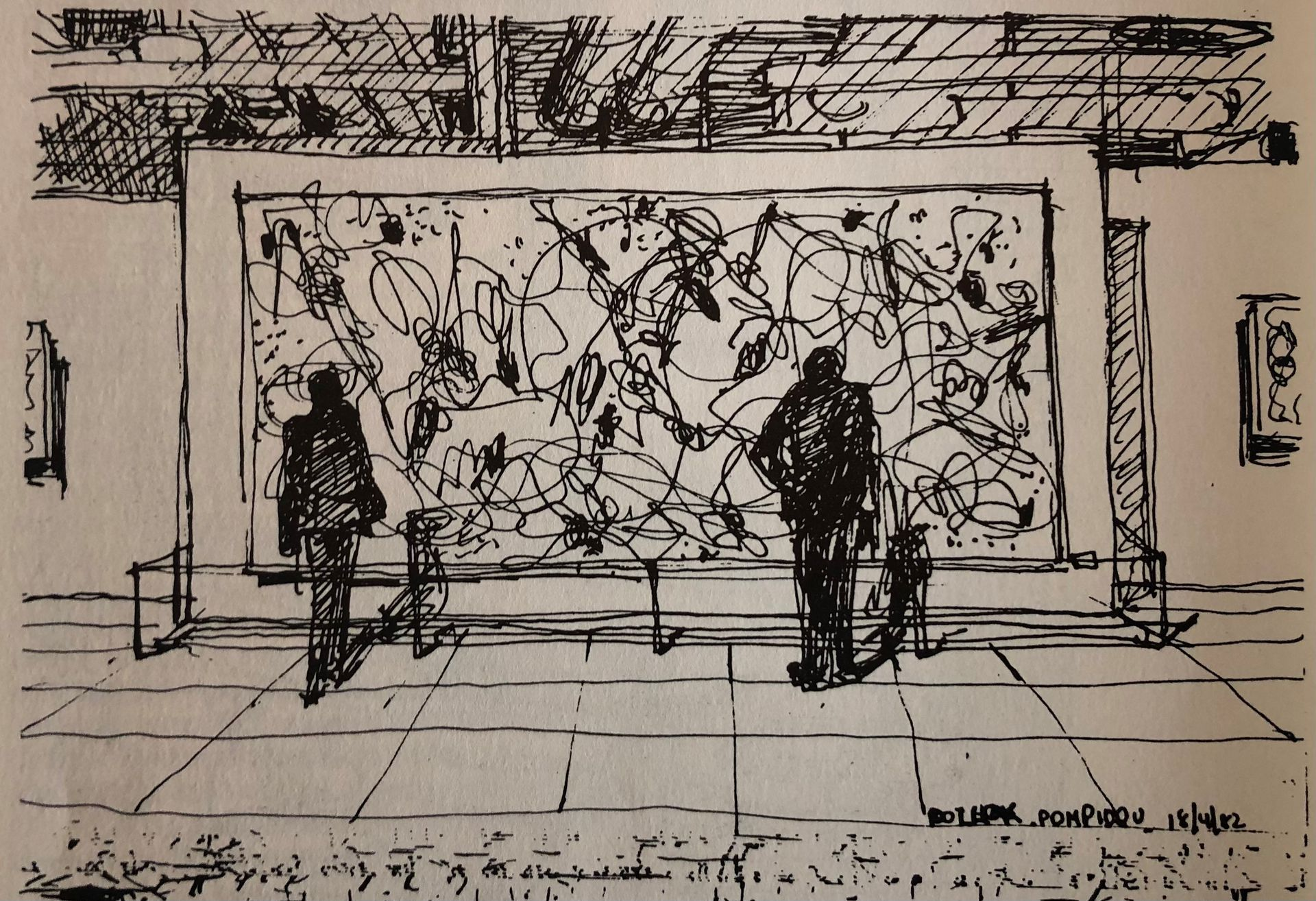 Interior del Pompidou, París, abril de 1982