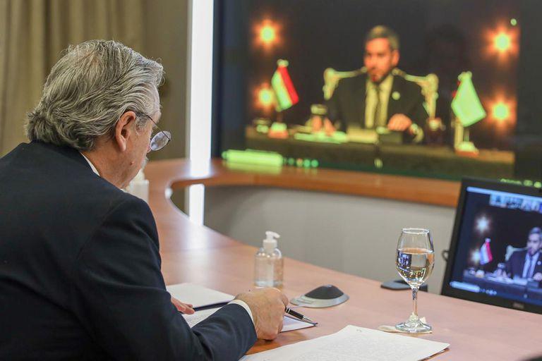 Alberto Fernández durante la Cumbre del Mercosur