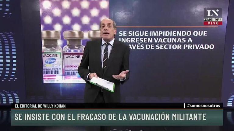 Se insiste con el fracaso de la vacunación militante