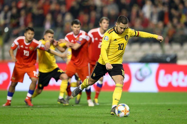 Eden Hazard, anotó el segundo gol de su equipo durante el partido del Grupo I de la Clasificación para el Campeonato Europeo 2020 de la UEFA entre Bélgica y Rusia