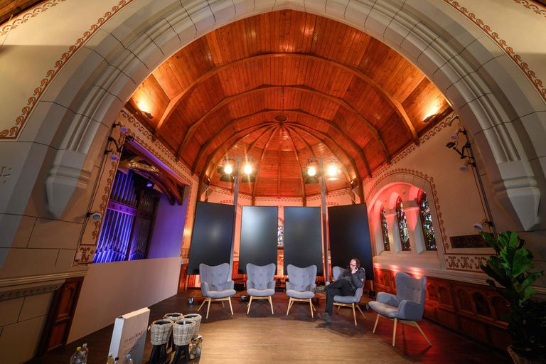 A picture inside the Freie Evangelische Gemeinde, or the English Church on Janury 21, 2019 during the World Economic Forum annual meeting in Davos. - The church, is one of more than a dozen buildings in the town that have been rented out to multinational corporations for events during the annual Wor