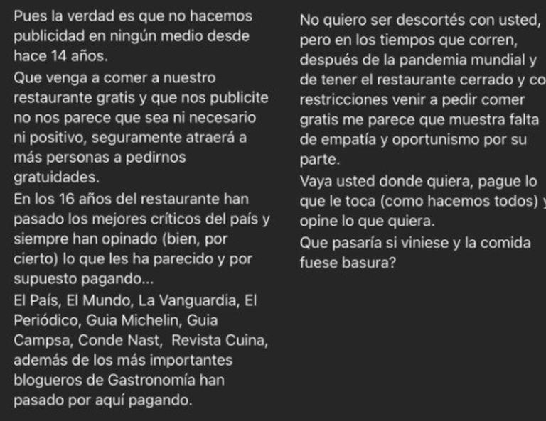 La respuesta de Ana y Quintín, dueños del restaurante AQ