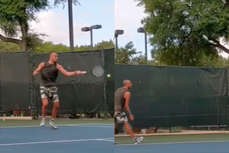 """Manu Ginóbili, tenista: saque y a la red para sus """"amigos"""""""