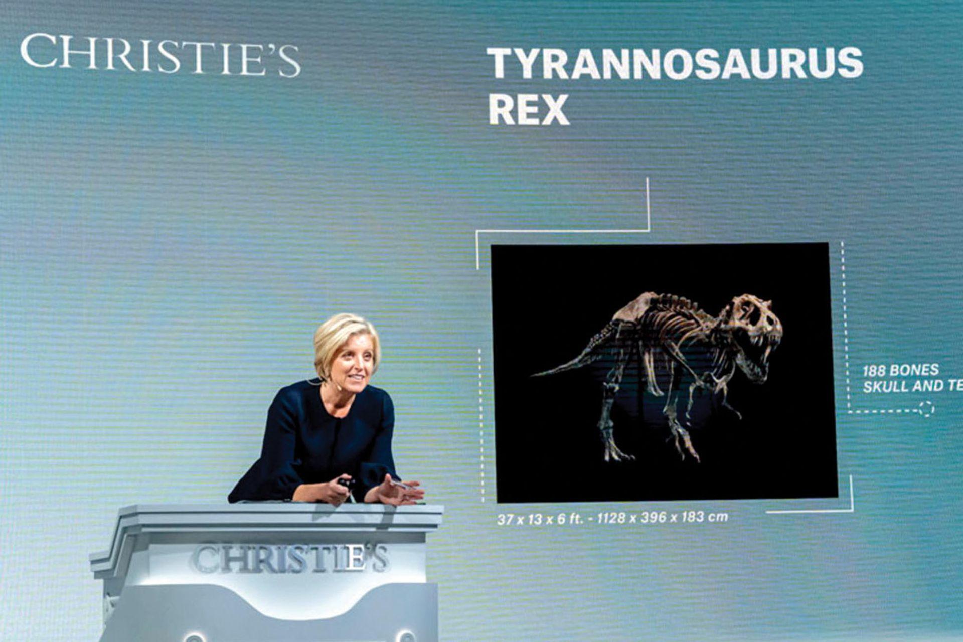 """Subasta récord. El esqueleto del T. rex """"Stan"""" se subastó a la par de obras de Picasso, Magritte y Cézanne."""