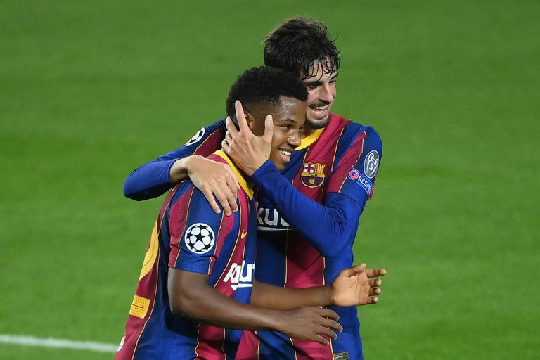 Barcelona frenta al Ferencvarosi TC. gol de Ansu Fati