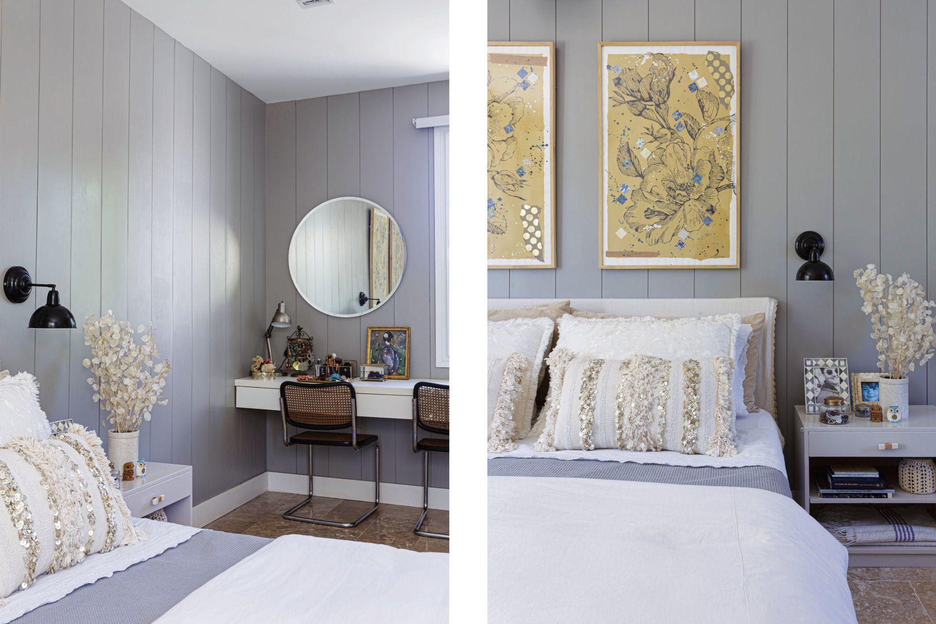 Las alfombras son de Marabierto. Junto a la ventana, un escritorio-toilette con espejo circular biselado de 80 cm de diámetro y sillas 'Cesca' de Marcel Breuer.