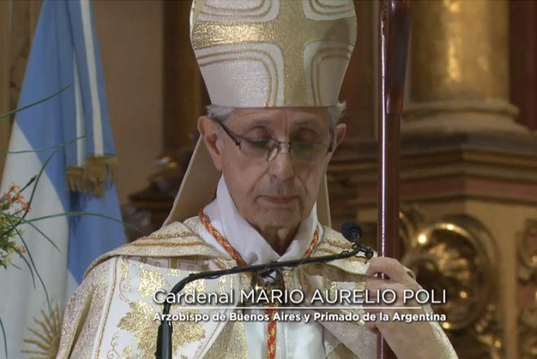 El cardenal Mario Aurelio Poli encabeza el Tedeum en la Catedral a puertas cerradas