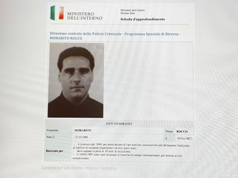 Ficha de información de Rocco Morabito del Ministerio del Interior italiano