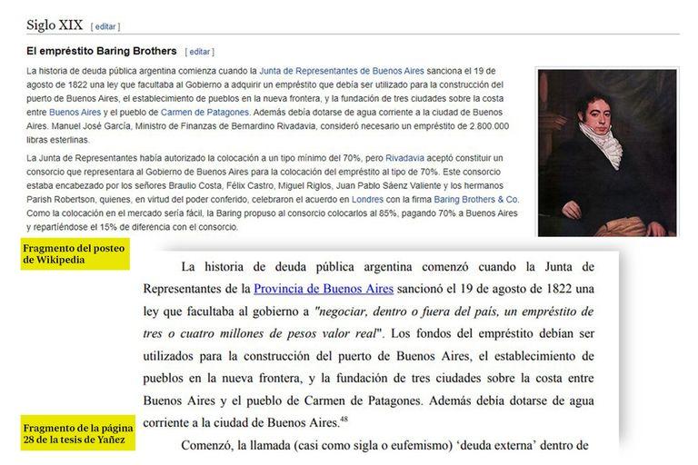 Un fragmento del posteo de Wikipedia que se repite en la tesis de Fabiola Yañez.
