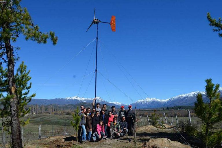 Una vista del generador instalado por los alumnos de la escuela agrotécnica de Cholila, Chubut