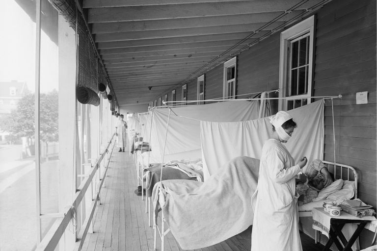 Enfermos de influenza en el hospital Walter Reed, en Washington, en 1918