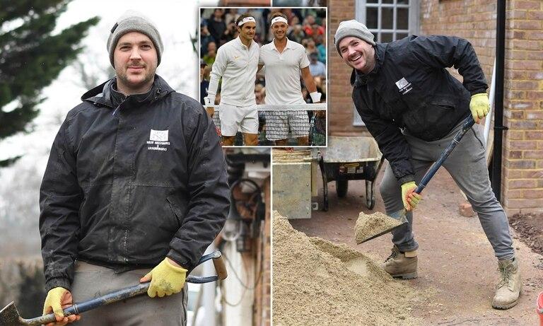 Marcus Willis pasó de enfrentar a Federer en 2016 a trabajar en una obra en construcción en 2021. (Gentileza Daily Mail)