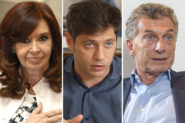 Cristina Fernández de Kirchner, Axel Kicillof, Mauricio Macri, los dirigentes identificados como más confrontativos