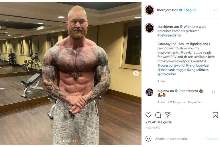 En su cuenta de Instagram, se puede verse al islandés que exhibe un cuerpo con los músculos marcados