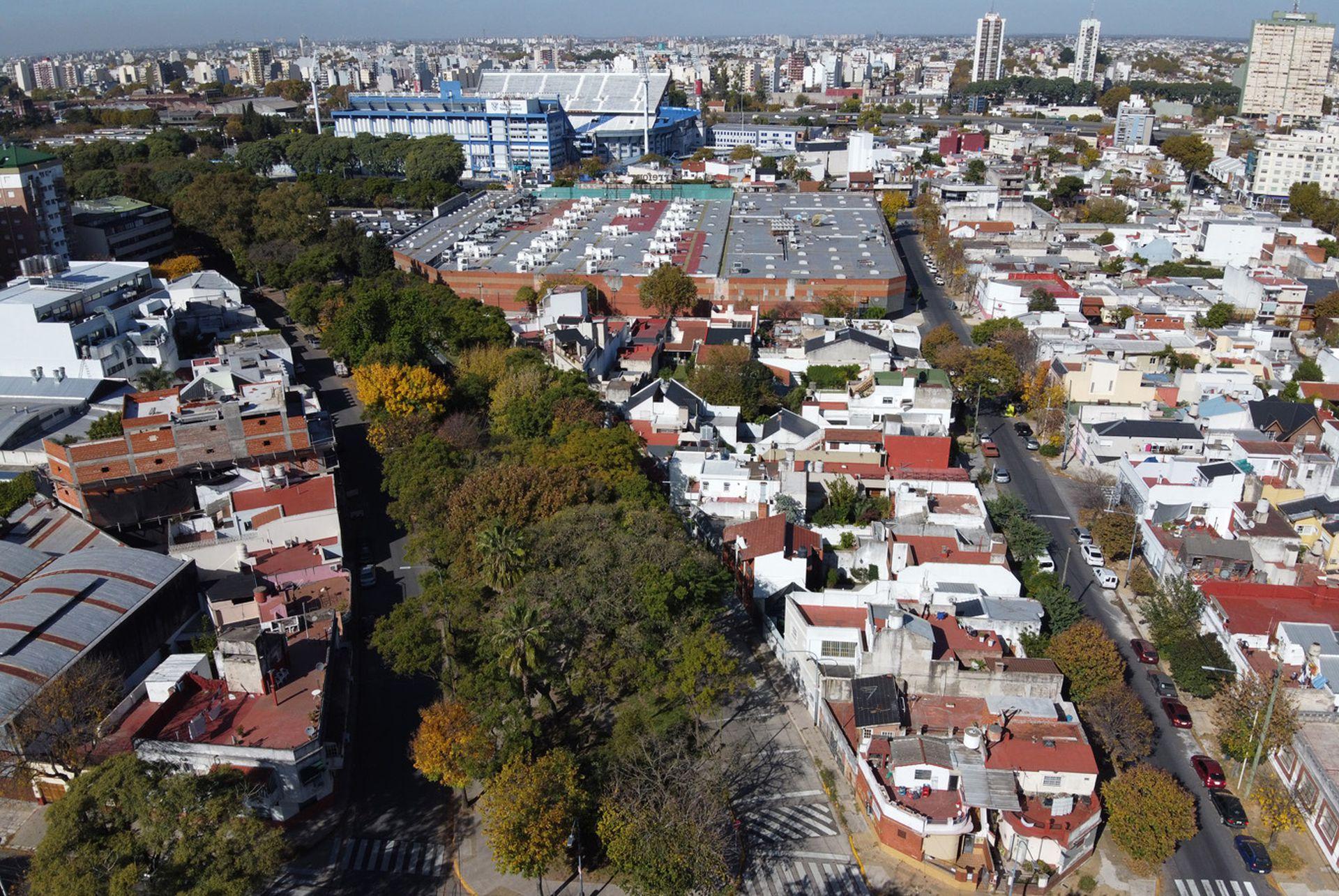 Al fondo puede verse el estadio de Vélez