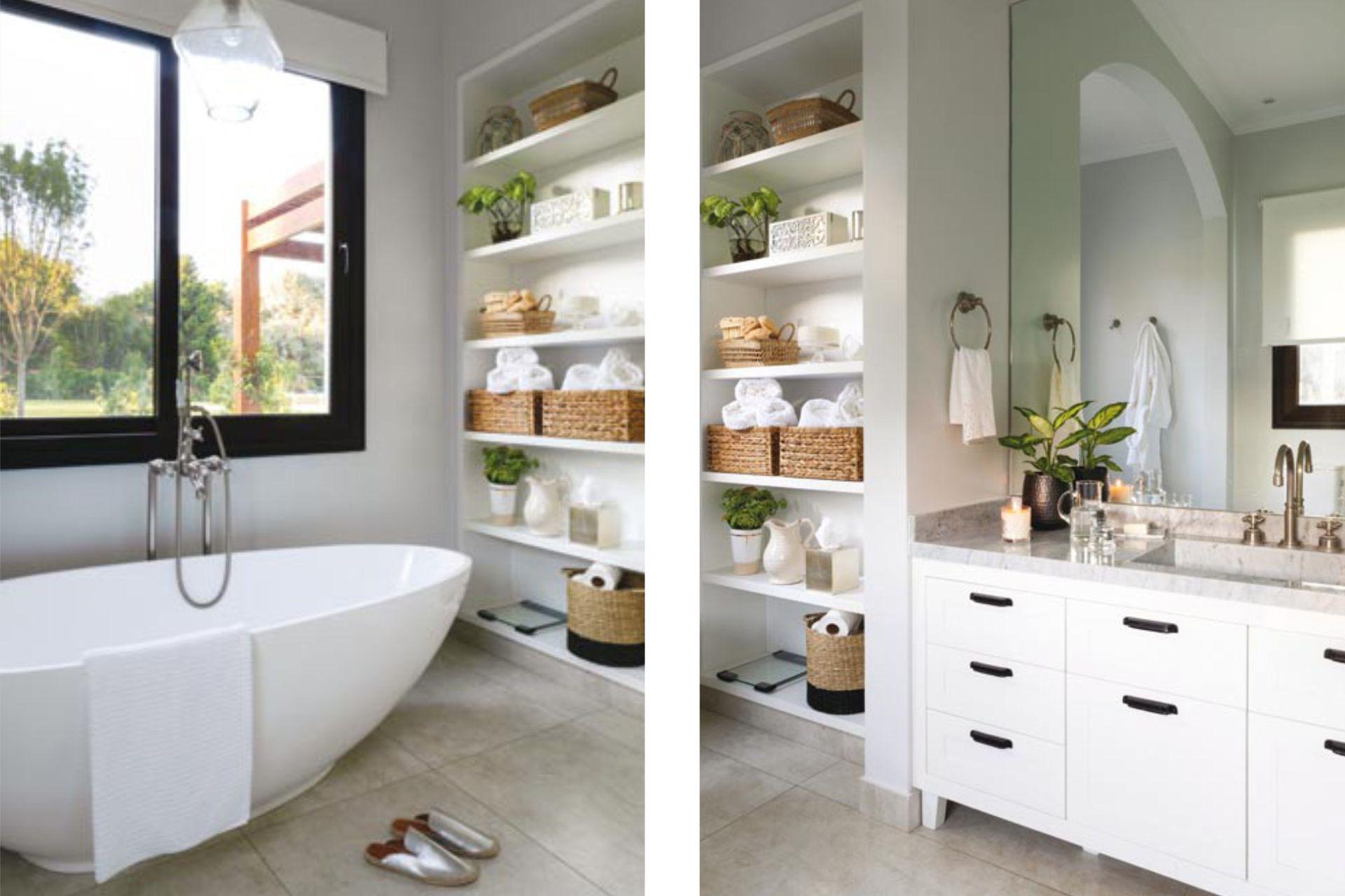 El baño de la suite tiene mueble con mesada de Carrara (Marmolería de Mori) y grifería 'Tango' (Robinet). Bañera exenta modelo 'elipsa' (Yacuzzi), canastos (Fraternidad), toallas (Luna Deco) y slippers plateadas (Summerlosophy).