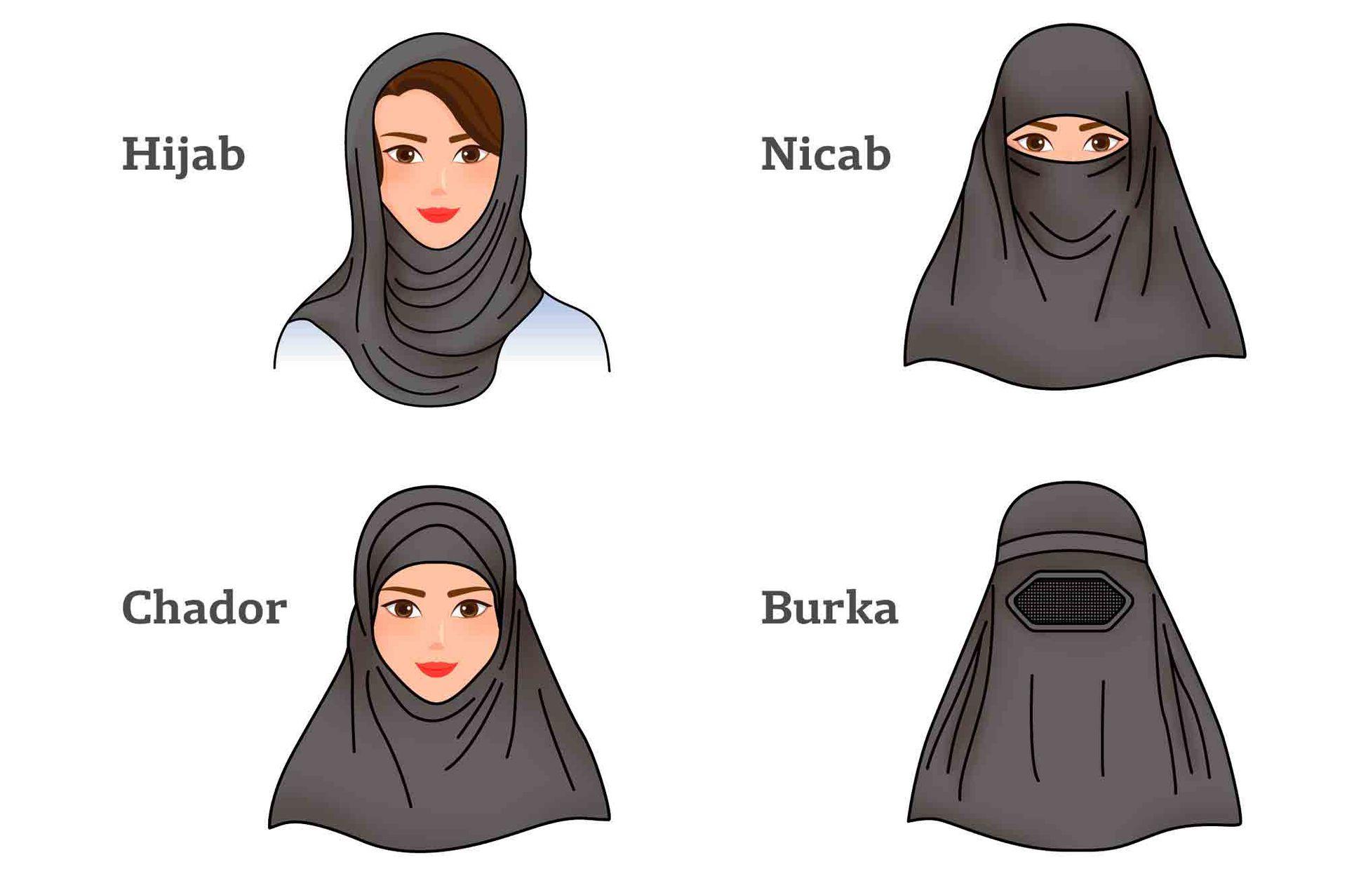 Burka, Nicab o Chador son variantes al hijab, pañuelo que cubre cabeza y hombros, un símbolo de identidad y pertenencia.