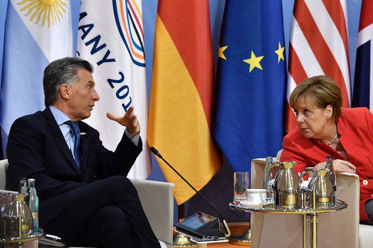 El presidente Mauricio Macri junto a la canciller alemana, Angela Merkel