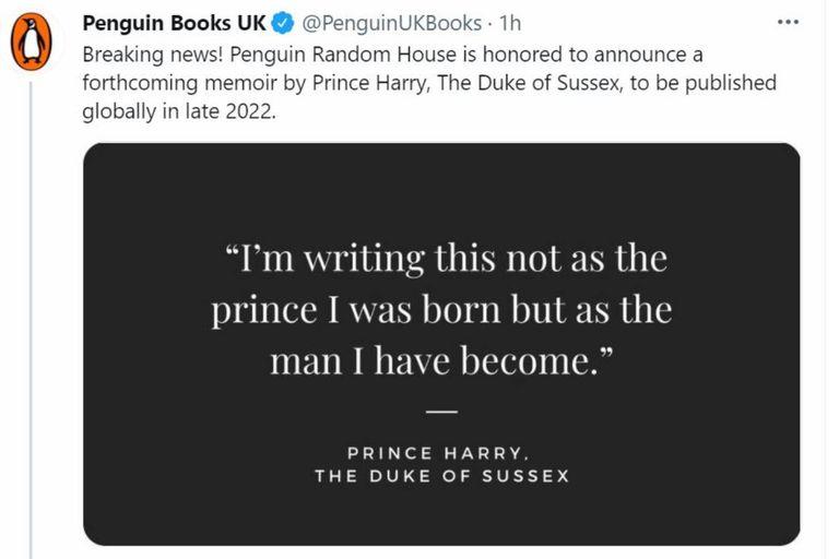 La editorial Penguin Random House anunció la publicación de las memorias a través de las redes sociales