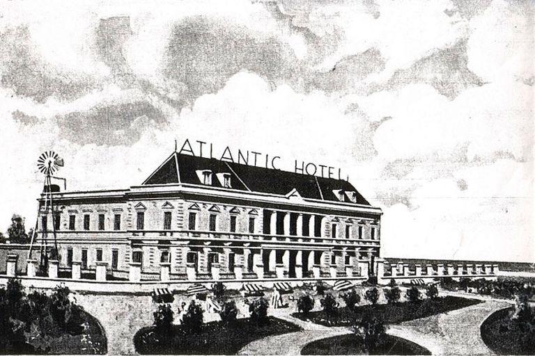 El Hotel Boulevard Atlantic, en un boceto previo a su construcción, donde se alojaron los pampistas