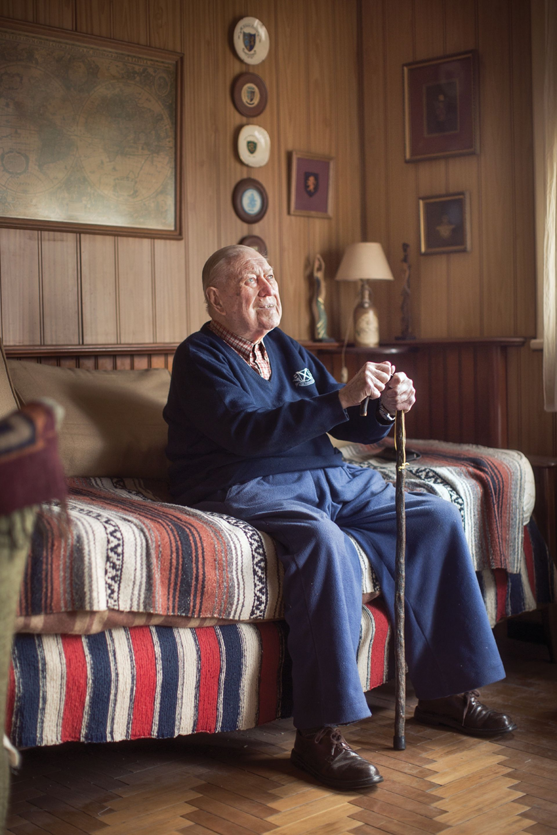 Stanley Coggan, de 94 años, en su casa de Lomas de Zamora
