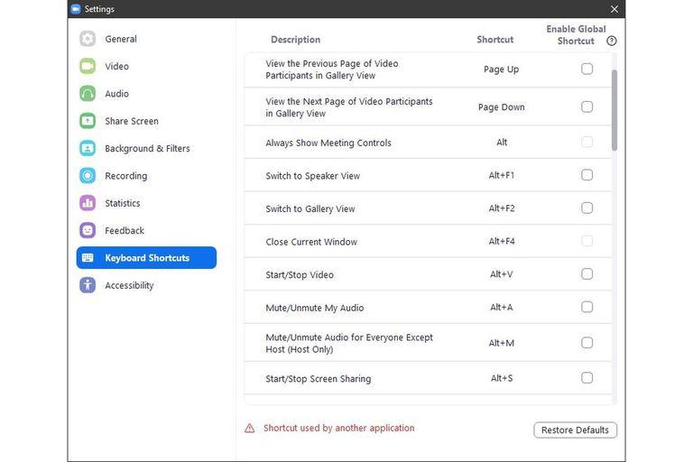 Lista y personalización de los atajos de teclado