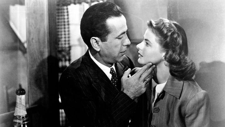 Junto a Humprey Bogart, en la legendaria Casablanca (1942)