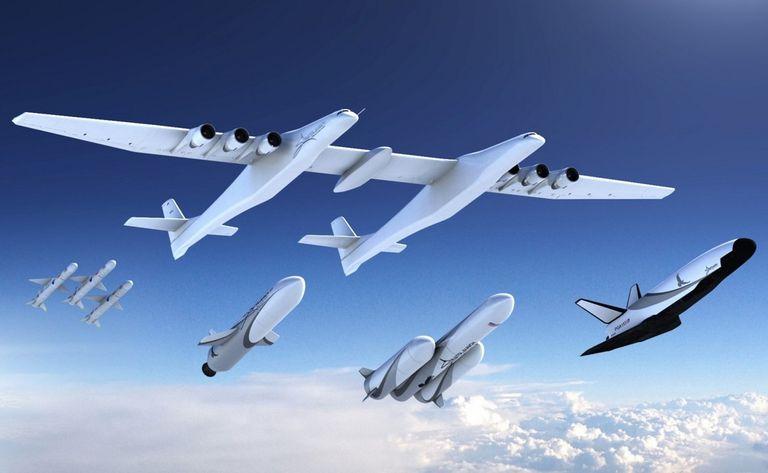 El Stratolauncher tiene 117 metros de envergadura y se usará para llevar vehículos espaciales a partir de 2020