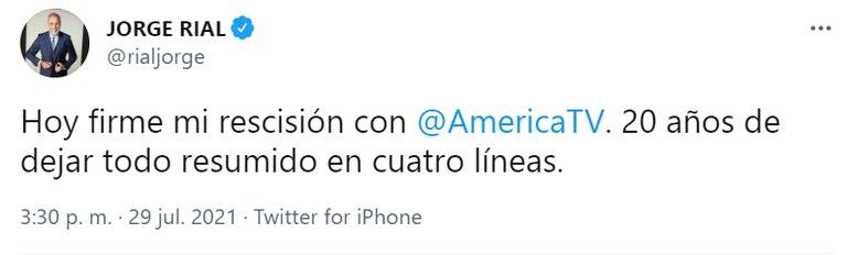 Jorge Rial se refirió a su salida de América