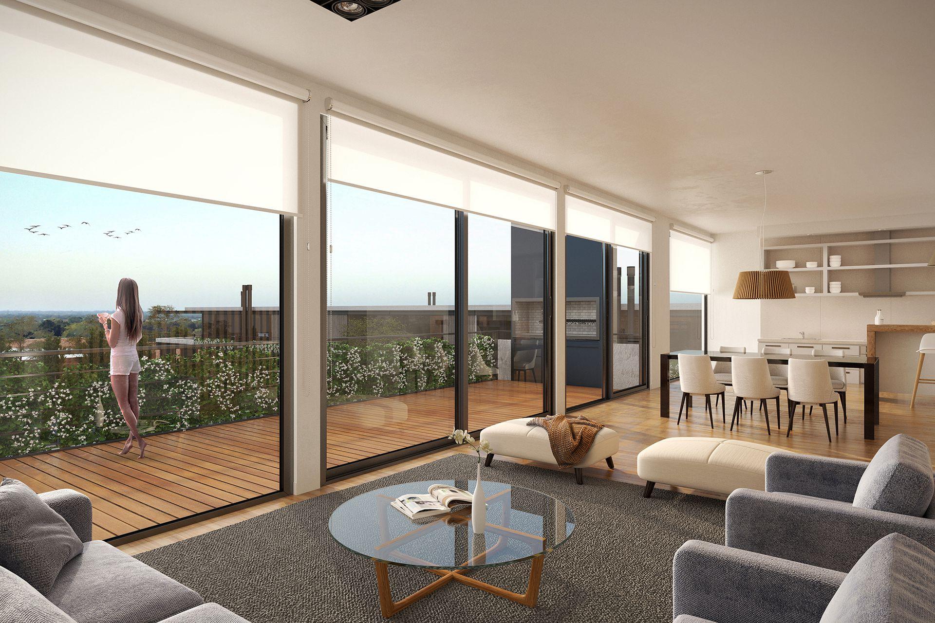 Un gran diferencial de los departamentos serán los balcones aterrazados de 3 metros de ancho y entre 7 y 11 metros de largo con deck