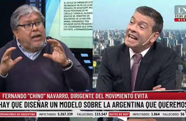 """Fernando """"el Chino"""" Navarro intercambió fuertemente opiniones con Pablo Rossi en el programa Hora 17"""