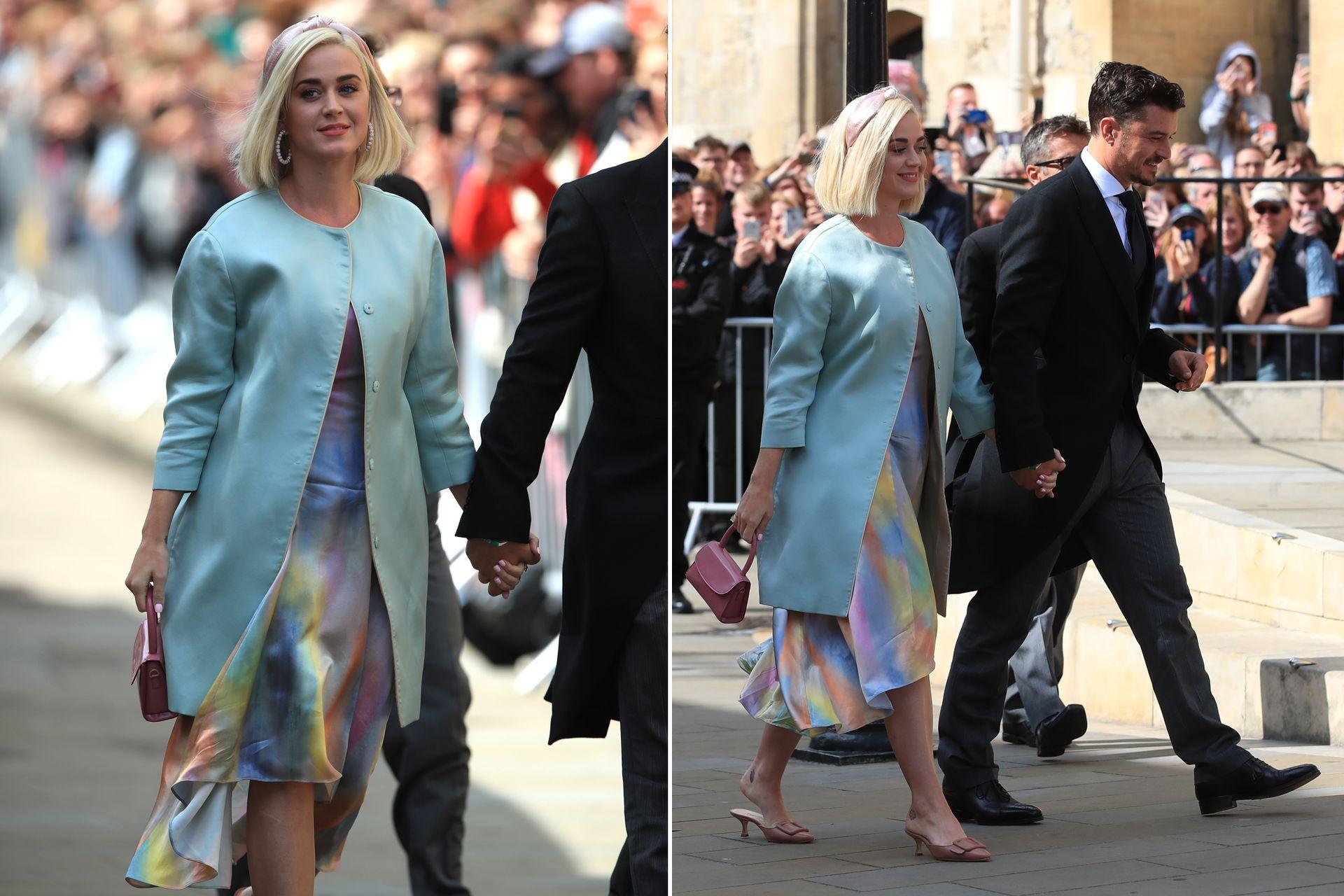 ¿Baby boom? Katy Perry asistió -junto a Orlando Bloom- al casamiento de Ellie Goulding con un amplio vestido en tonos pasteles y acuarelados de Sies Marjan, que alimentaron los rumores de embarazo