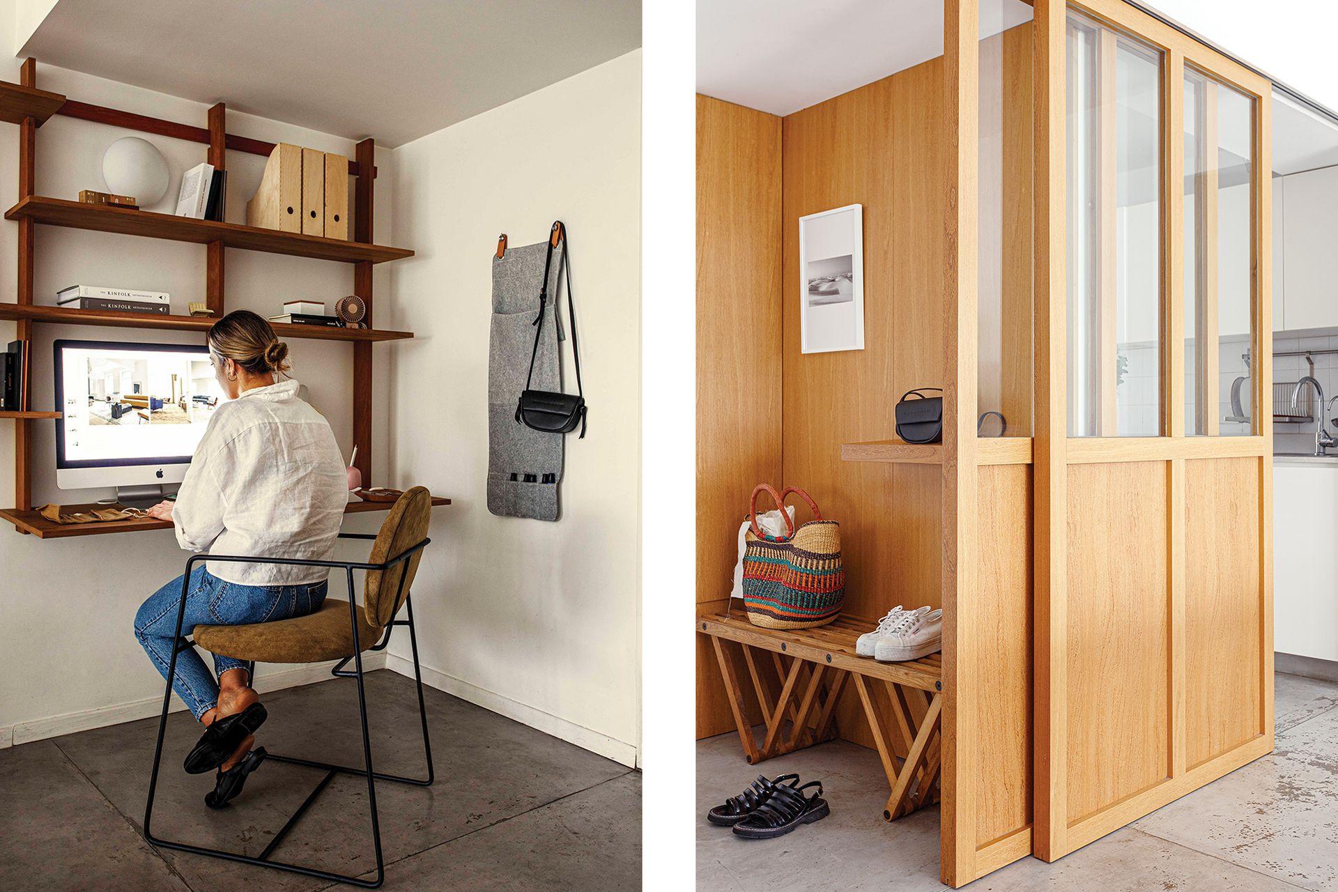 La mampara es de vidrio y guayabo, la misma madera que recubre el hall (todo diseño de Sofía Ledesma).