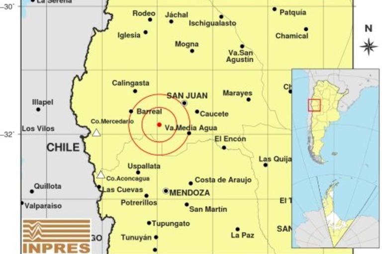 El epicentro del sismo fue 53 kilómetros al oeste de la localidad de Media Agua y 57 kilómetro al sur de San Juan