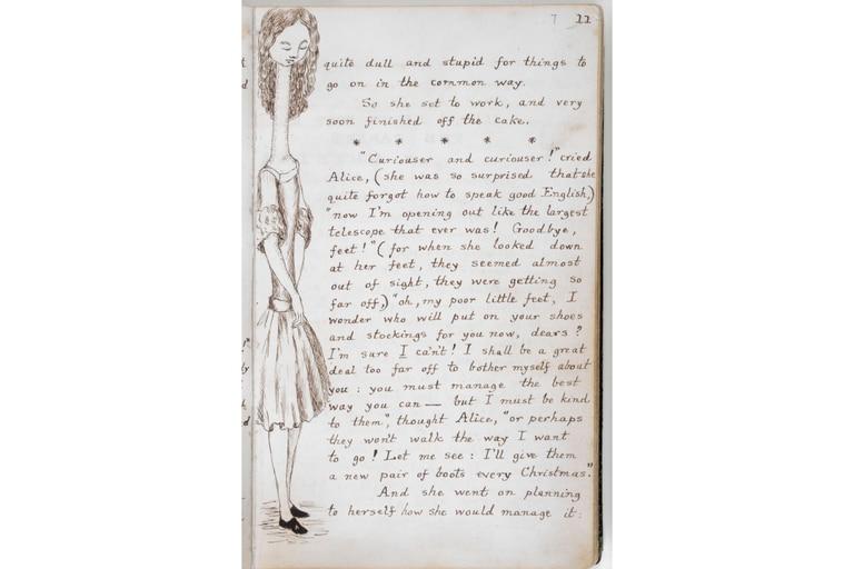 Lewis Carroll no solo escribió a mano el libro sino que hizo él mismo los dibujos para Alice